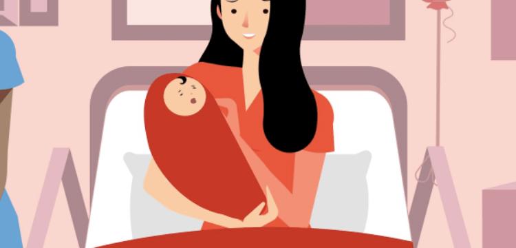 Madre en una cama de hospital con su niño recién nacido