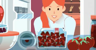 Ilustración de una mujer mirando en la nevera para buscar un aperitivo saludable