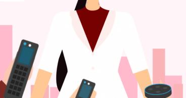 Ilustración de mujer sonriendo con dispositivos inteligentes.png